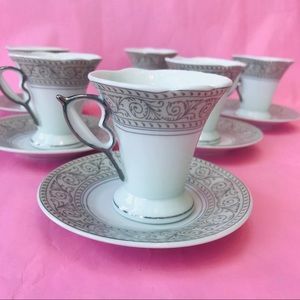 Vintage porcelain mini coffee cups with saucers